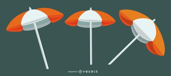 Conjunto de ilustración de sombrilla