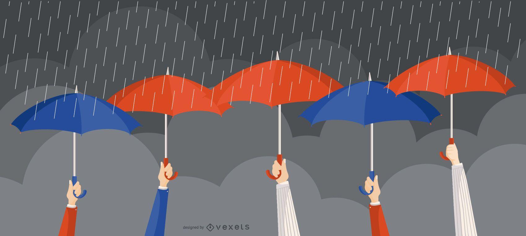 Umbrella Rain People Illustration