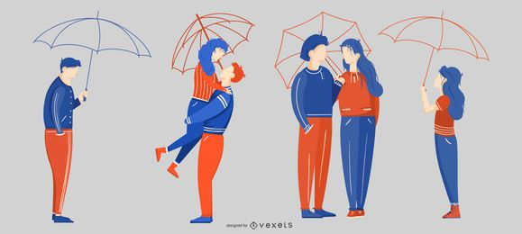 Paquete de diseño de Umbrella Love People