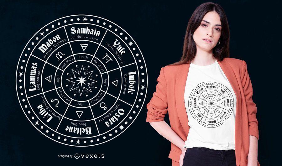 Diseño de camiseta Pagan Calendar