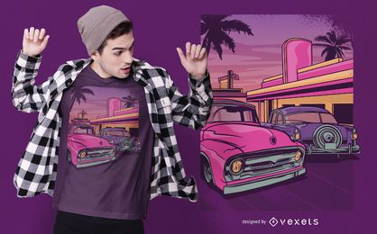 Design retro do t-shirt do restaurante do carro