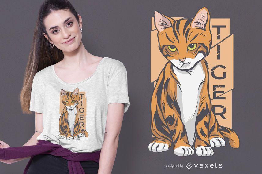 Diseño de camiseta de gato tigre