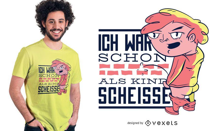 Design alemão do t-shirt das citações do pirralho