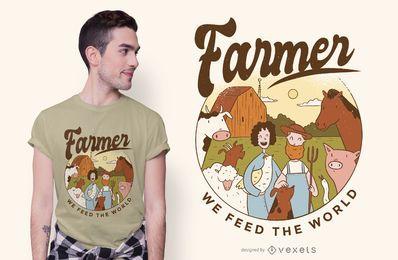 Diseño de camiseta de texto de ilustración de granjero