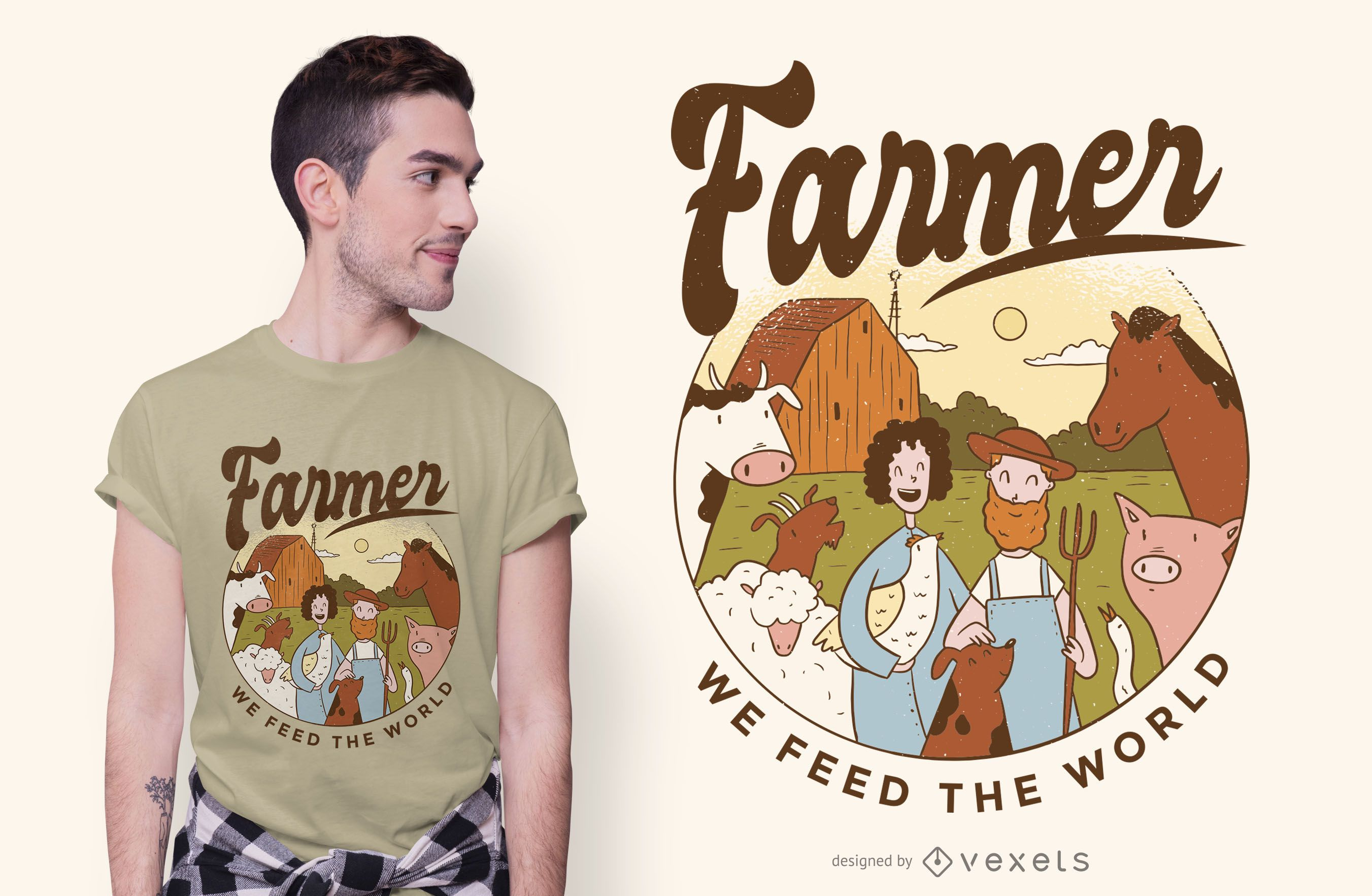 Farmer Illustration Text T-shirt Design