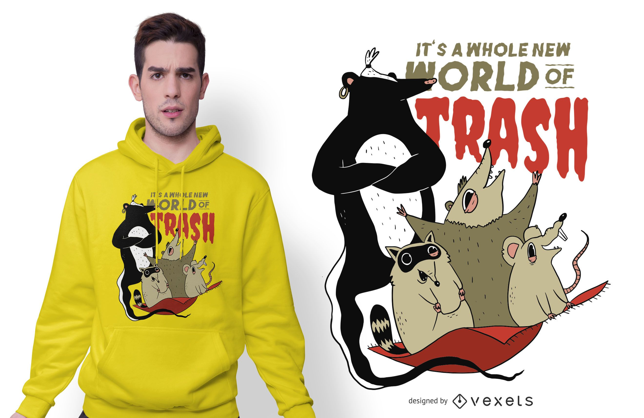 World Of Trash Funny T-shirt Design