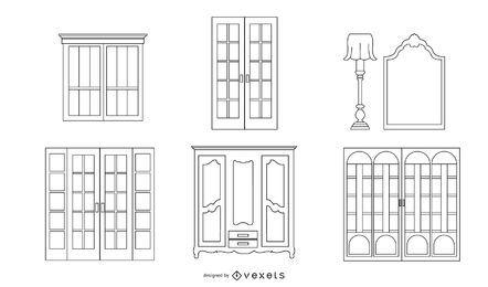 Pacote de objetos da linha de arquitetura francesa
