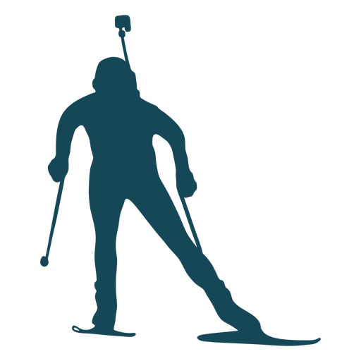 Biathlonist silhouette moving front view
