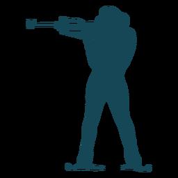 Biathlonist silhouette shooting