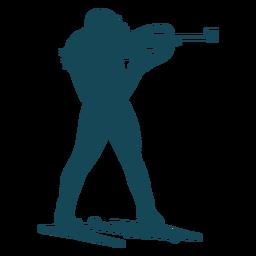 Biathlonist silhouette shooting man