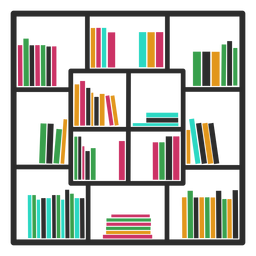 Quadrado colorido de estantes