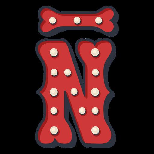 Carnival letter n with line color Transparent PNG