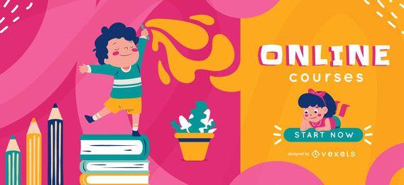 Plantilla de control deslizante para niños de escuela en línea