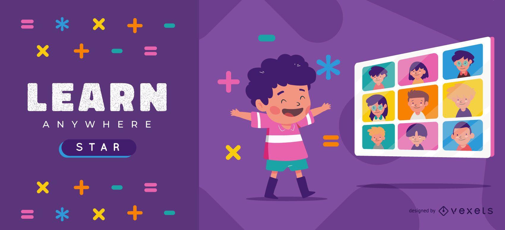 Plantilla de control deslizante para niños aprender en línea