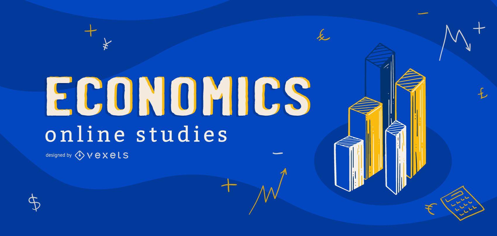 Diseño de portada de estudios en línea de economía