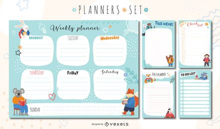 Cute animals planners set