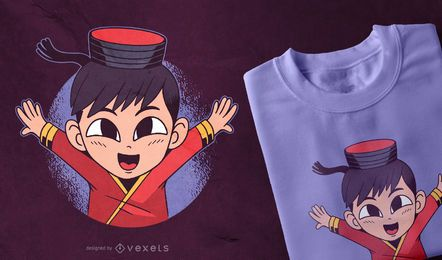 Diseño de camiseta asiática para niños