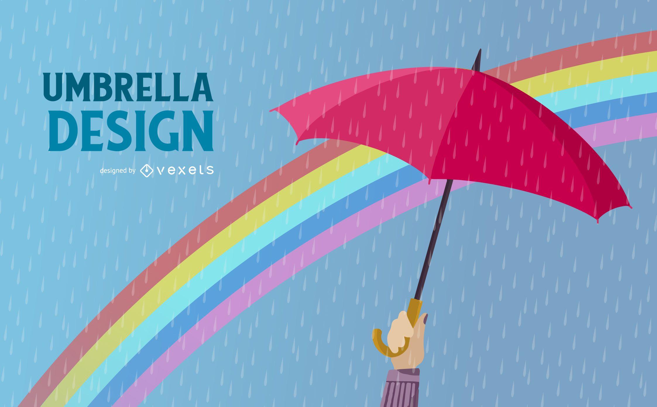Diseño de ilustración de lluvia de paraguas
