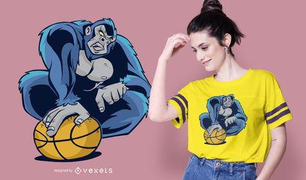 Diseño de camiseta de baloncesto gorila