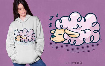 Diseño de camiseta de oveja durmiendo.