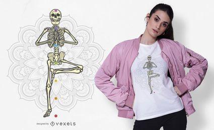 Design de t-shirt de esqueleto de ioga