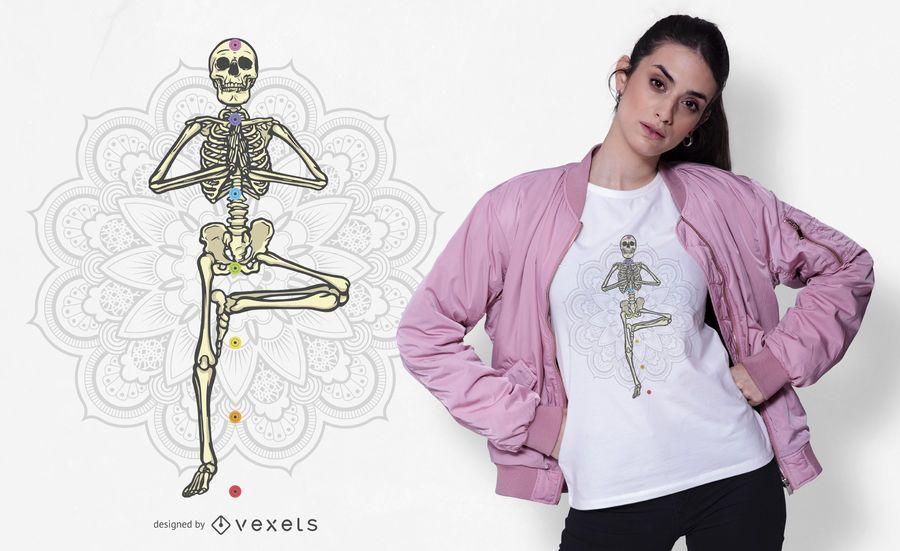 Yoga skeleton t-shirt design