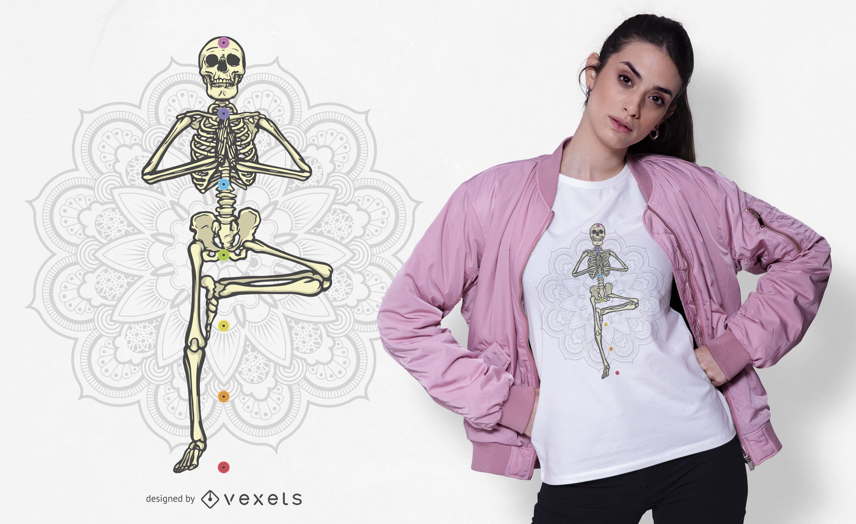 Diseño de camiseta de esqueleto de yoga
