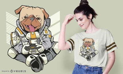 Diseño de camiseta de pug soldado