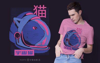 Design de t-shirt de gato espacial Glitch