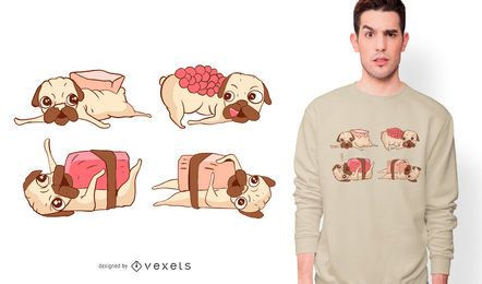 Design de t-shirt de pugs de sushi