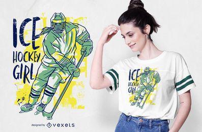 Design de t-shirt de menina de hóquei no gelo