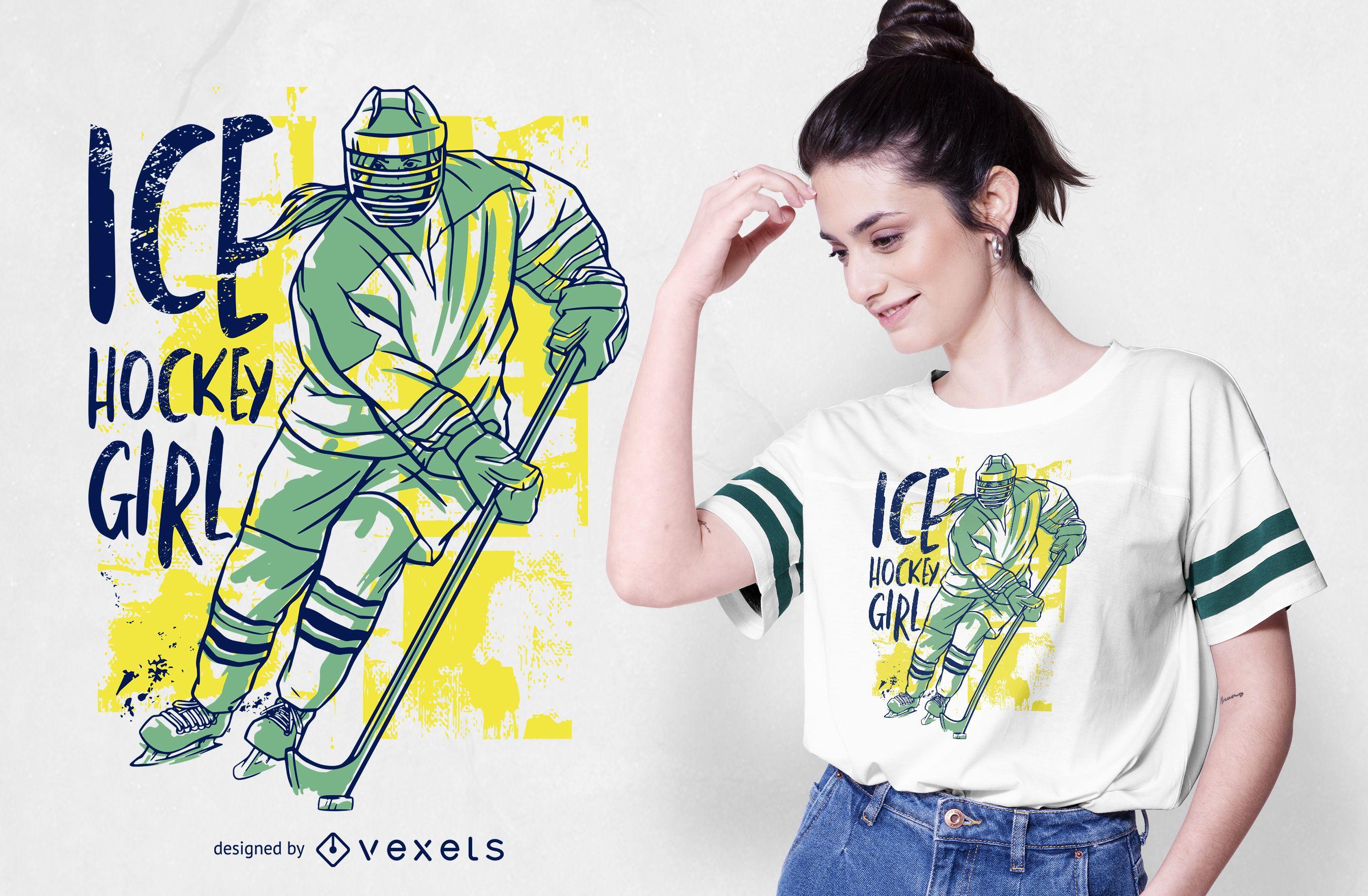 Ice hockey girl t-shirt design