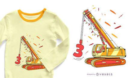 Diseño de camiseta de cumpleaños de excavadora