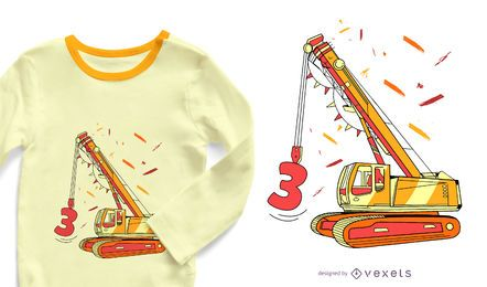 Excavator birthday t-shirt design