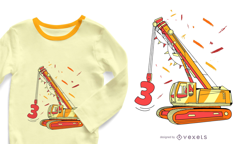 Dise?o de camiseta de cumplea?os de excavadora.