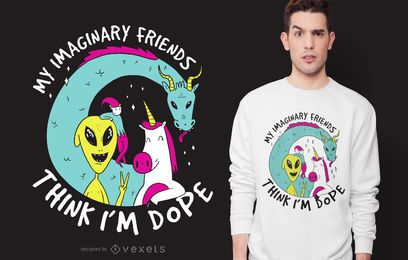 Design de t-shirt de amigos imaginários