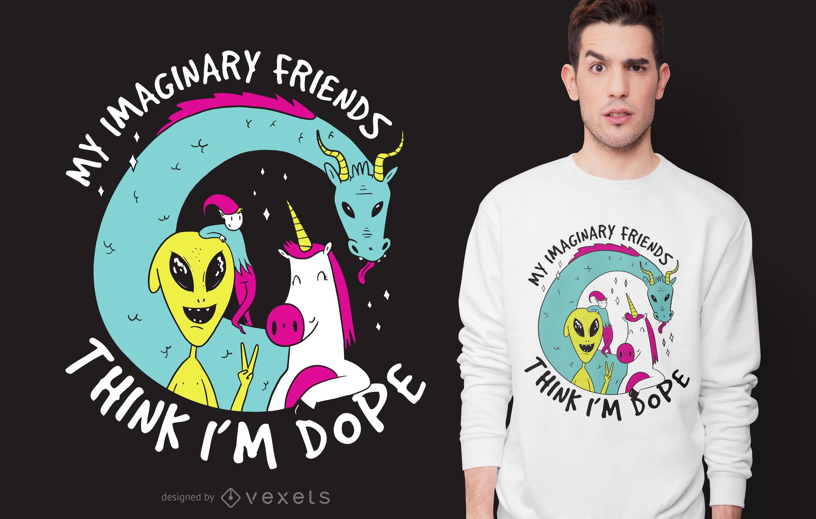 Diseño de camiseta de amigos imaginarios.