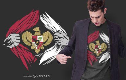 Design de camisetas com o emblema da Indonésia