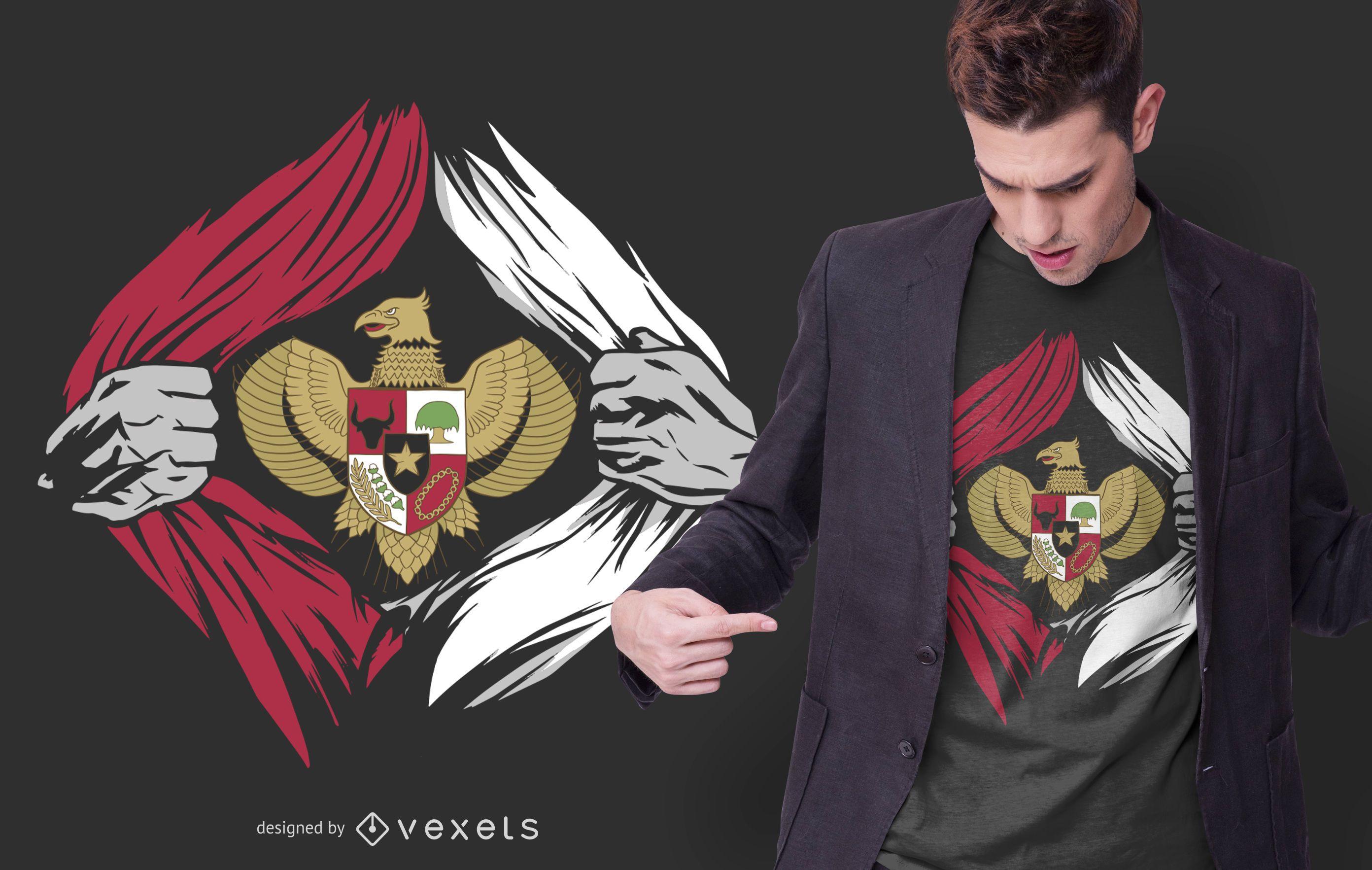 Diseño de camiseta con emblema de Indonesia