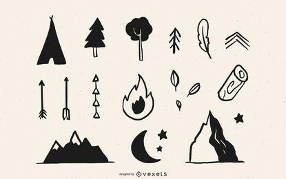 Pacote de elementos de acampamento florestal desenhado à mão