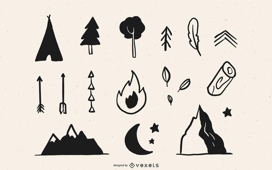 Paquete de elementos de campamento de bosque dibujado a mano