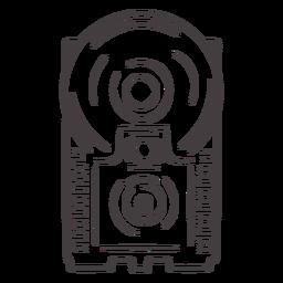 Icono de trazo de cámara flash antiguo