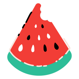 Biten watermelon slice flat