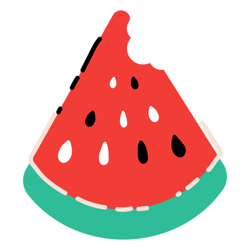 Biten watermelon slice flat Transparent PNG
