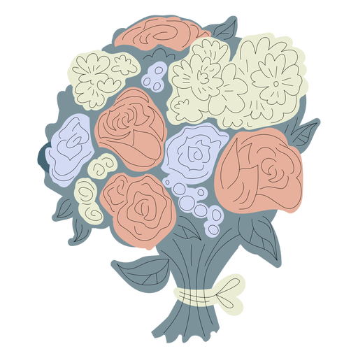 Dibujado a mano ramo de flores azul