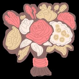 Brown flower bouquet hand drawn