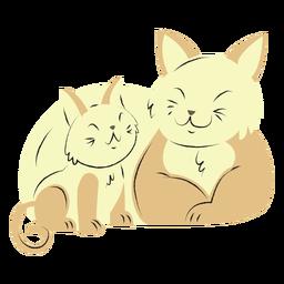 Cat and her kitten hand drawn