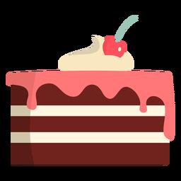 Tarta de chocolate con glaseado de fresa plana
