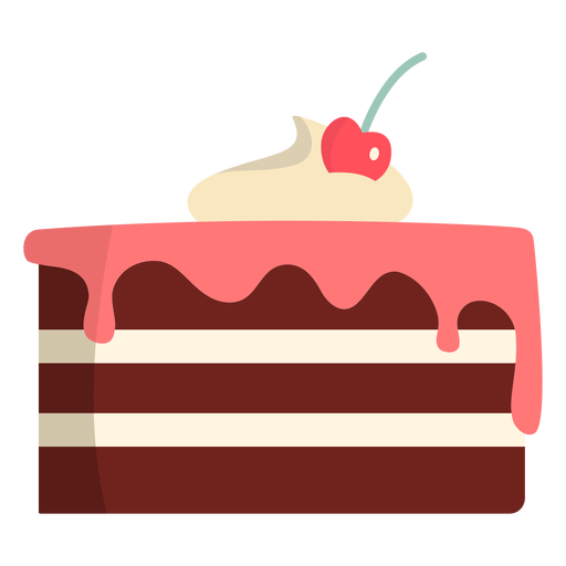 Chocolate cake with straberry icing flat Transparent PNG