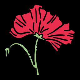 Dibujado a mano flor de amapola cerrada